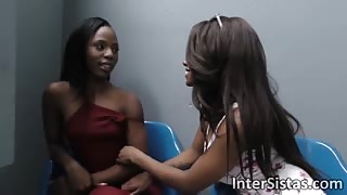 Horny sistas Jezabel Vessir and Sarah Banks take turns on hard white dick in gloryhole