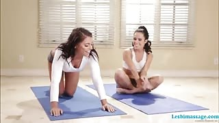 Yoga transforms into a hot lesbian sex with Adriana and Megan