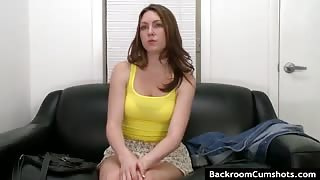 Slutty amateur sucking cock in an office
