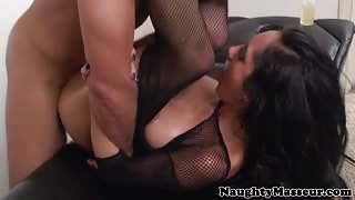 Hot Chloe Amour sucks masseurs dick