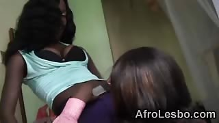 Busty African lesbians fingering muffs in bedroom
