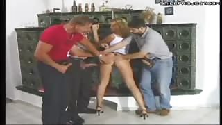 Whore Sandra de Marco fucked by 3 guys