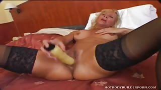 Horny Blonde Body-Builder Chick Blows  & Screws Cock  And Dildo