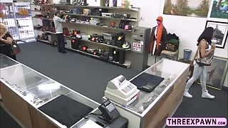 All natural huge tits Latina slurps a giant cock and gets slammed in the shop