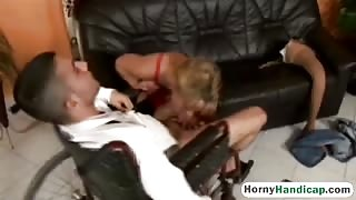 Hot Blonde leg amputee gets a good fucking!