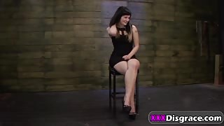 Pale bitch Montana Sky gets tied and fucked on BDSM casting