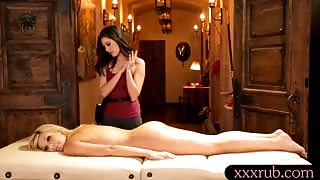 Massage turns into steamy lesbian action of two sexy babes