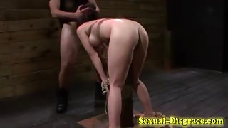 Throated slave gagged and fucked