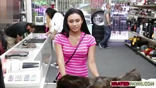 Brunette teen gets a tight pussy fuck hard by the pawnshop owner