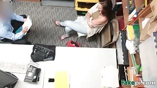 Stepmom and stepdaughter fucked hard inside the office by a security guard!