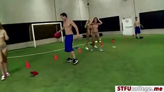 Hot college teens recieves a fuck in the ass at the dodgeball field