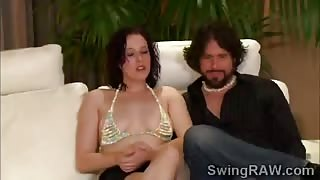 Horny white beauties get in the mood for swinger orgy