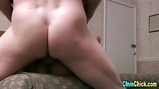 Clothed brit domina gets fucked