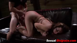 Spanked bound submissive fucked