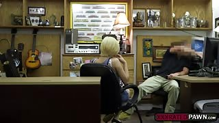 Petite blonde Stevie SIxx is down on her knees to suck huge cock
