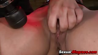 Busty bound slave pussy toyed