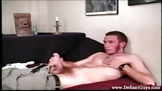 Straight solo twinks masturbate on sofa