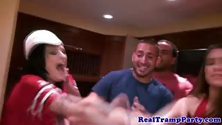 Real superbowl amateur orgy enjoying cumplay session