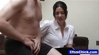 Clothed cfnm babe giving handjob