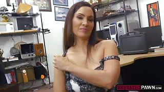 MILF Sophie Leon sucks cock as payment for the remaining balance