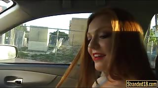 Beautiful redhead teen Farrah Flower hitchhikes and fucked