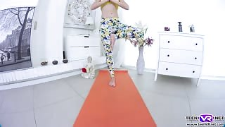VR Teen tight pussy dildo fuck after yoga