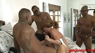 Horny babe Savannah Fox interracial orgy with black dudes