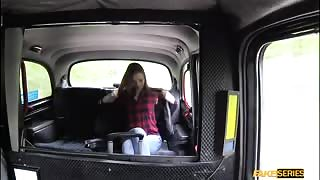 Blonde teen Chelsey rides a taxi ang gets fucked in the backseat