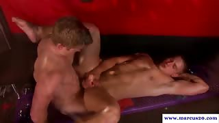 Horny straight dude blowing muscled jock