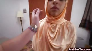 Young Muslim wife exploited her shaved innocent pussy for first sex costumer