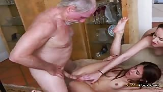 Cute Teens Share Big Cock And Jizz Of Rich Old Guy
