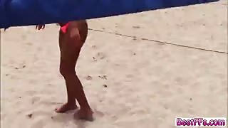 Blonde teens gets fucked hardcore at the beach