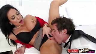 Jaclyn Taylor and Megan Rain share a cock in the bedroom