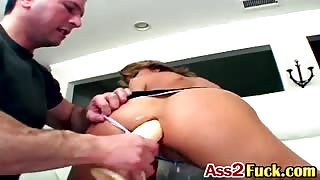Horny dudes finger babe's ass then fuck her with dildo before bang her pussy and butt at same time