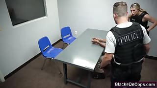 Hard interracial threesome fucking with hot female police officers and big black cock