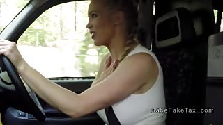 Young blonde licks huge boobs cab driver in fake taxi