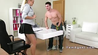 European guy with camera fuck female agent