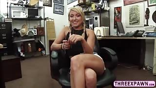 Hard cock pawnshop staff tricked and pounded a cute innocent babe pussy