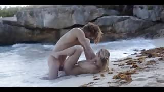 gentle art sex of horny couple on beach