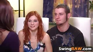 Group amateur orgy swinger reality show blowjob