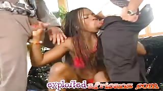 A hot ebony chick is happy for having one white cock in her pussy and another in her mouth
