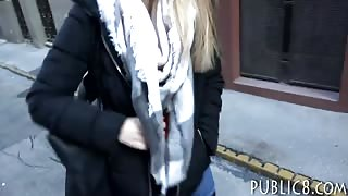 Euro girl flashes her big tits and boned for some cash
