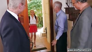Tricky old Frannkie And The Gang Tag Team A Door To Door Saleswoman