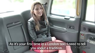 Brunette tourist sucks in London fake taxi