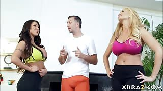 Huge tits yoga wives share the instructors big dick in class