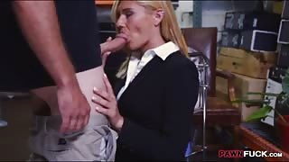 Sexy blonde milf twat nailed by pawn man at the pawnshop