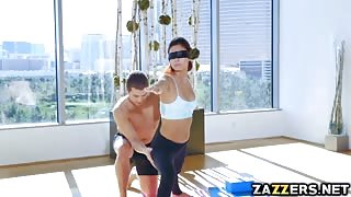 Latina Jade  got double penetrated while blindfolded