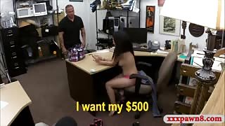 Sexy Cuban chick drilled at the pawnshop to earn money