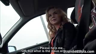 Blonde Czech teen Nishe gets Fucked on a highway by the guy who helped her on her find a place