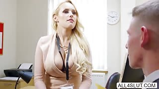 Sexy Blonde Angel Wicky showing off her natural big tits